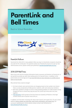 ParentLink and Bell Times