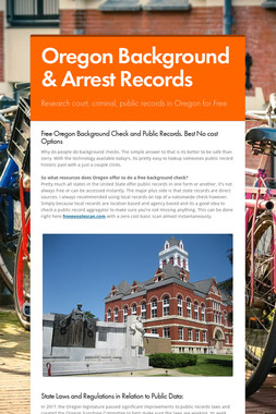 Oregon Background & Arrest Records