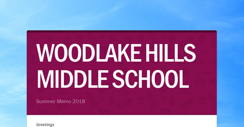 WOODLAKE HILLS MIDDLE SCHOOL   Smore Newsletters for Education