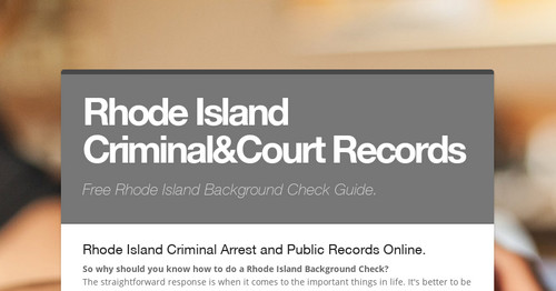 Rhode Island Criminal&Court Records | Smore Newsletters for Business