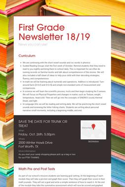 First Grade Newsletter 18/19