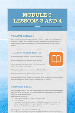 MODULE 9: Lessons 3 and 4