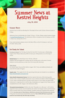 Summer News at Kestrel Heights