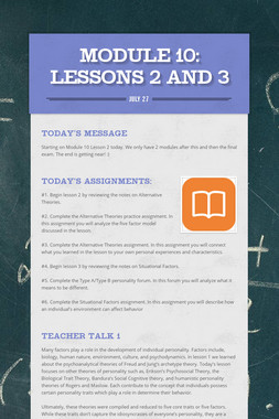 MODULE 10: Lessons 2 and 3