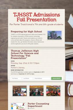 TJHSST Admissions Fall Presentation