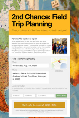 2nd Chance: Field Trip Planning