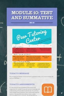 MODULE 10: Test and Summative