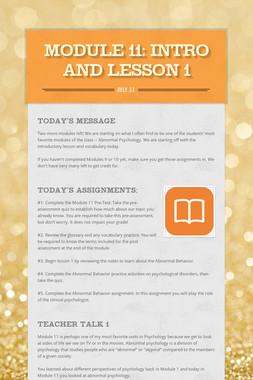 MODULE 11: intro and lesson 1
