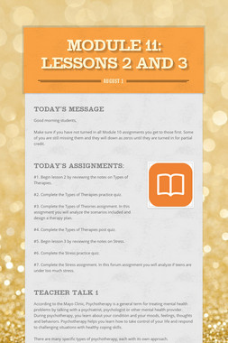 MODULE 11: Lessons 2 and 3