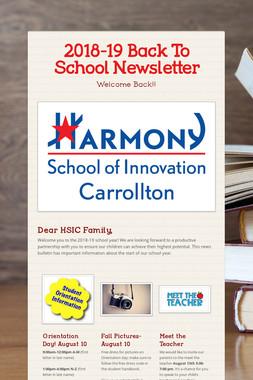 2018-19 Back To School Newsletter