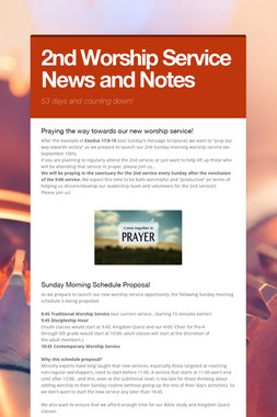 2nd Worship Service News and Notes