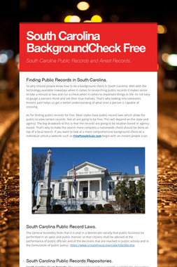South Carolina BackgroundCheck Free