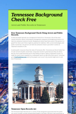 Tennessee Background Check Free