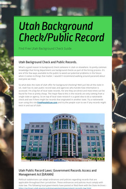 Utah Background Check/Public Record