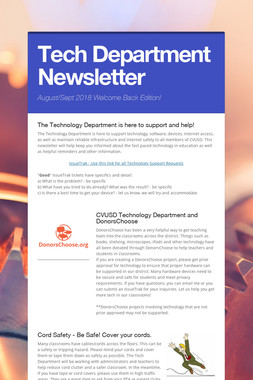 Tech Department Newsletter