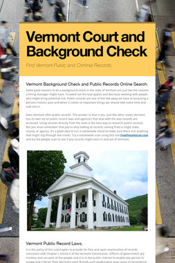 Vermont Court and Background Check
