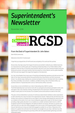 Superintendent's Newsletter