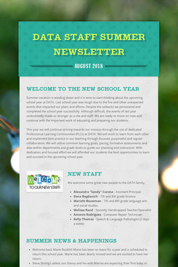 DATA Staff Summer Newsletter