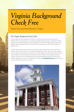 Virginia Background Check Free