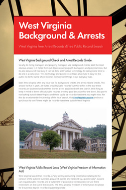 West Virginia Background & Arrests