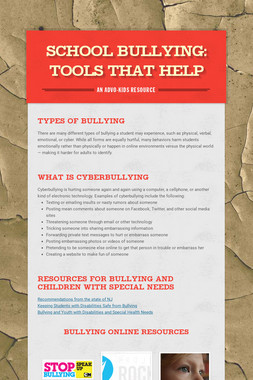 School Bullying: Tools That Help