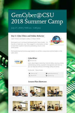 GenCyber@CSU 2018 Summer Camp