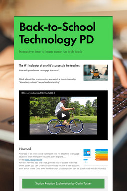 Back-to-School Technology PD