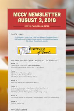 MCCV Newsletter August 3, 2018