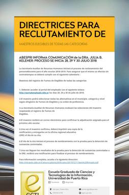 DIRECTRICES PARA RECLUTAMIENTO DE