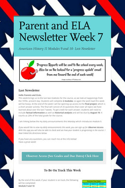 Parent and ELA Newsletter Week 7