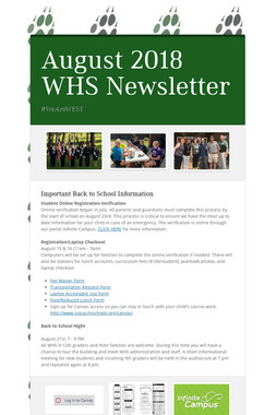 August 2018 WHS Newsletter