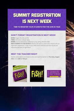 Summit Registration is Next Week