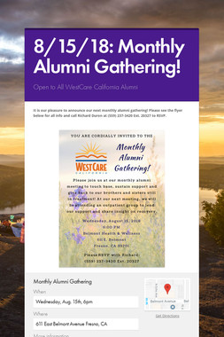 8/15/18: Monthly Alumni Gathering!
