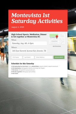 Montevista 1st Saturday Activities