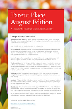 Parent Place August Edition