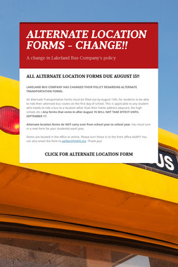 ALTERNATE LOCATION FORMS - CHANGE!!