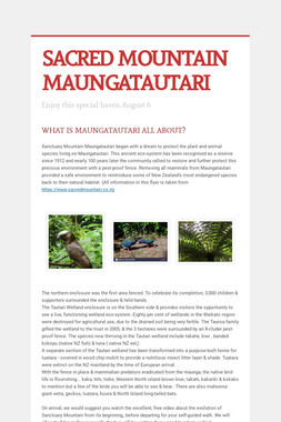 SACRED MOUNTAIN   MAUNGATAUTARI