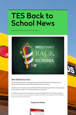 TES Back to School News