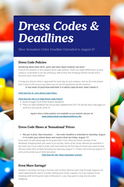 Dress Codes & Deadlines
