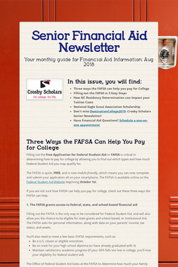Senior Financial Aid Newsletter