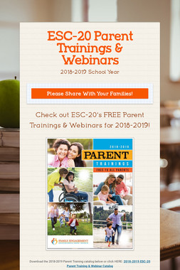 ESC-20 Parent Trainings & Webinars