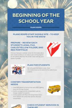 Beginning of the School Year