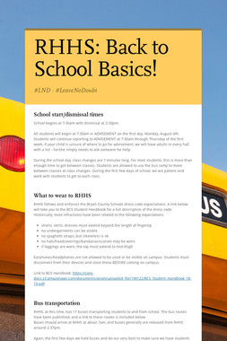 RHHS: Back to School Basics!