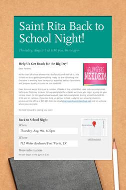 Saint Rita Back to School Night!