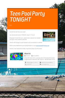 Teen Pool Party TONIGHT