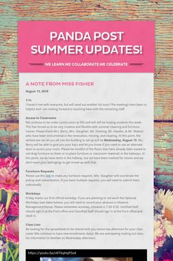 Panda Post Summer Updates!