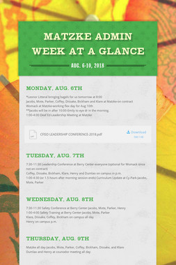 Matzke Admin Week at a Glance