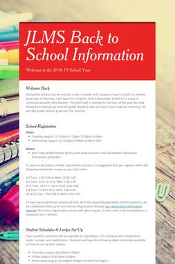 JLMS Back to School Information