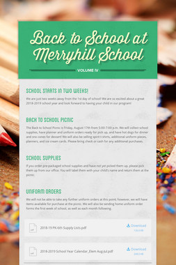 Back to School at Merryhill School