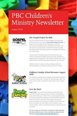 PBC Children's Ministry Newsletter